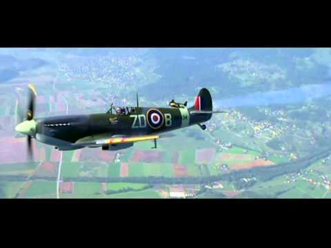 Jetman flies with a Spitfire