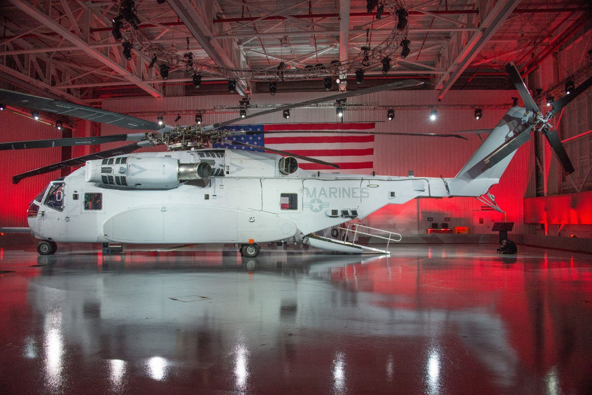 The new Sikorsky CH53K helicopter with advanced composite parts