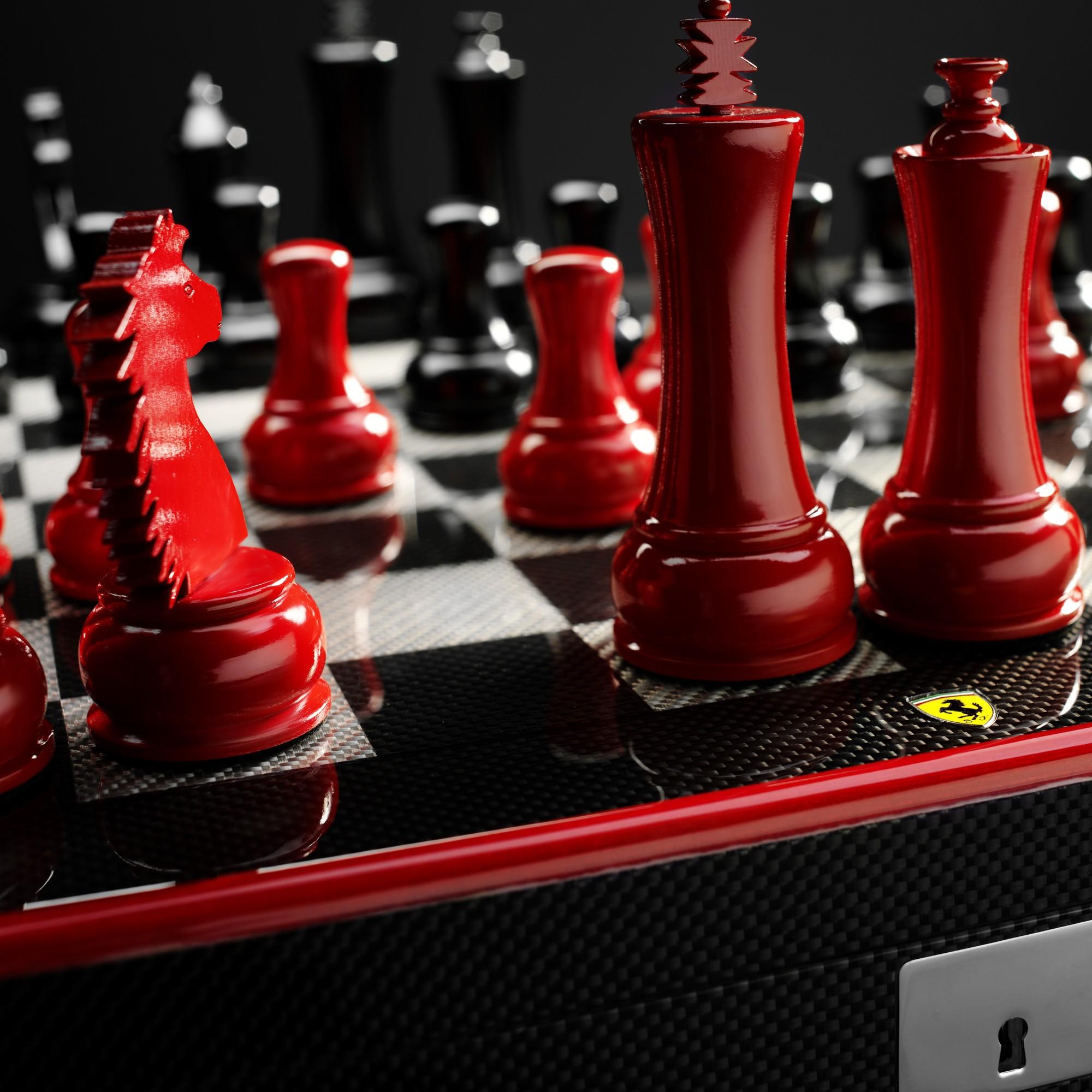 ferrari carbon fibre chess set
